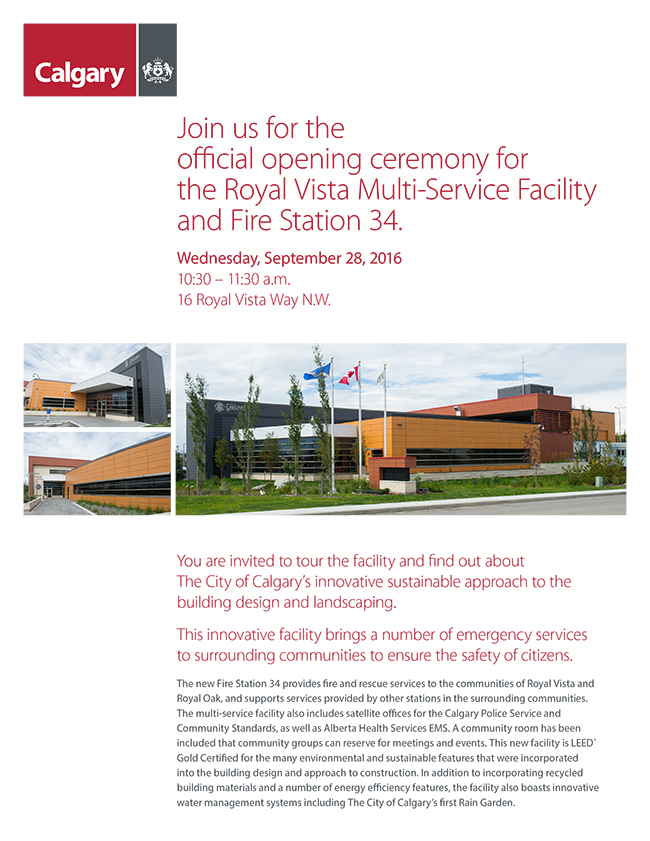 Royal Vista Fire Service Facility Invitation